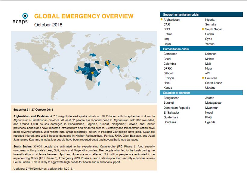 Global Emergency Overview Cover Page