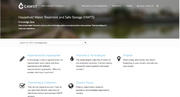 The HWTS Knowledge Base is designed as a one-stop, interactive online space with subject-specific structured information on point-of-use water treatment solutions. With the support of HIF, its next release will provide additional features to support humanitarian WASH practitioners, including those of you working in pre-, active- and post-emergency settings.