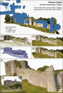 The process whereby a virtual model was created of a Norman Castle in Wales in an example of citizen based photogrammetry with processing and expert support provided by Northumbria Unversity
