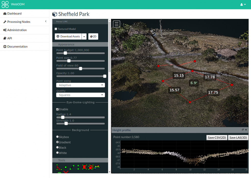 WebODM Interface for 3D data.
