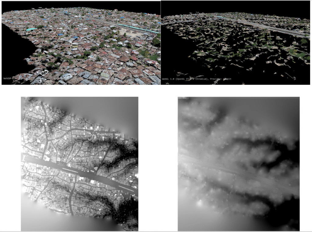 Example PDAL outputs allowing user classifications to filter point clouds. This allows for the production of digital terrain models in addition to digital surface models. Digital terrain models provide the basis for hydrological modeling, and is an important tool in risk assessment, development suitability, and flood disaster response.