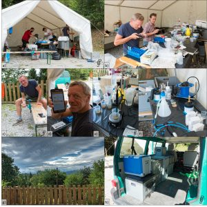 Lab work/live: a) Lab tent, b) Magdalena Bäuerl and Georg Ecker working with Akvo Caddisfly, c) & d) Georg Ecker working in the lab, e) Vernier titration station, f) Bacteriological work space, g) View from test site, h) Packed prototype in a VW-van/ Pic a) by Magdalena Bäuerl, othery by Johannes Bousek