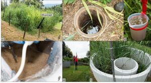 Sample sites: a) Constructed wetland, b) sample well, c) Effluent sample; d) Aerated collection tank, e) Marco Skodak with sampling device, f) Sludge stabilization/drying bed/all pics. by Johannes Bousek