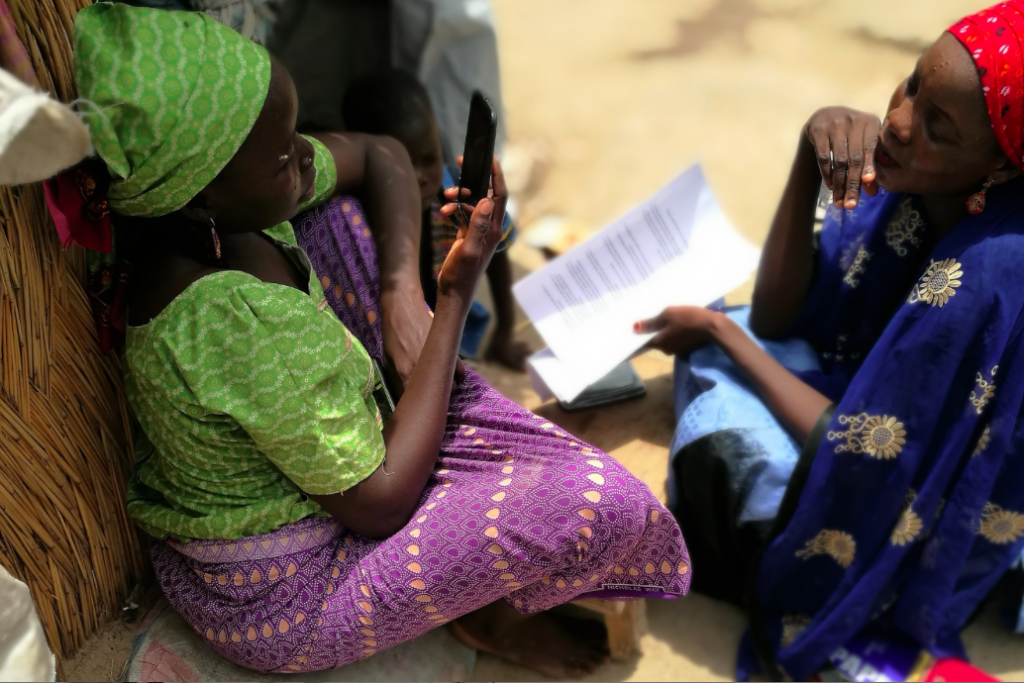 Testing comprehension of humanitarian information in Farm centre camp - Maiduguri, Nigeria © TWB