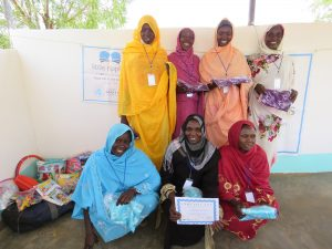Refugee women employed as Little Ripples teachers in refugee camp Djabal after completing Little Ripples Teacher Training