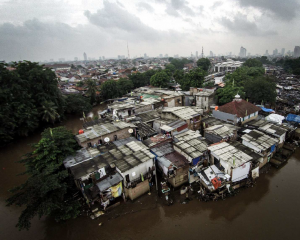 A commonly flooded and occupied floodplain in Jakarta, Indonesia